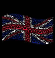 waving united kingdom flag pattern of contour vector image