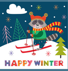 winter poster with skiing raccoon vector image