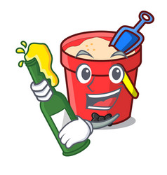 With beer sand bucket mascot cartoon vector