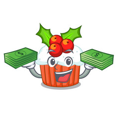 With money decorated christmas cupcakes cartoon vector