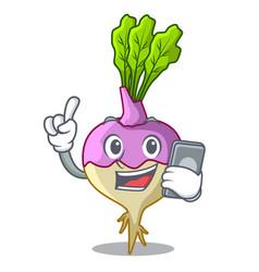 With phone cartoon rutabaga root on the garden vector