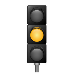 yellow color traffic lights icon realistic style vector image