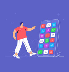 young man pointing to his big smartphone to choose vector image