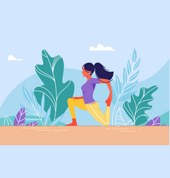 young woman in training stretching vector image
