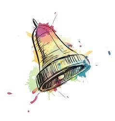 Bell ring watercolor sketch vector image vector image