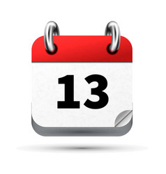 bright realistic icon of calendar with 13th date vector image vector image