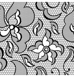 Lace fabric seamless pattern with abstract flowers vector image