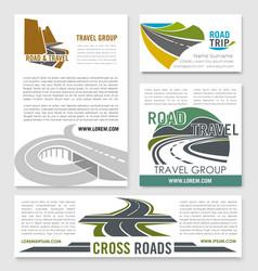 road travel banner template set for tourism design vector image vector image