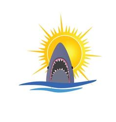 shark and sun vector image vector image