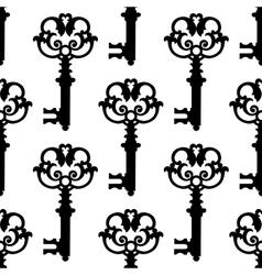 Vintage black keys seamless pattern vector image vector image