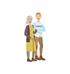 Volunteer Walking The Old Lady With Stick vector image vector image
