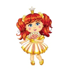 Cute little princess in a yellow dress vector