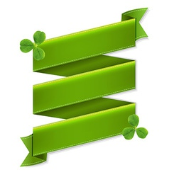 Green Ribbon Banner With Leaves vector image vector image