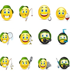 interesting set of smiles on fishing underwater vector image
