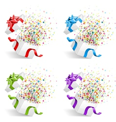 open gift with fireworks set vector image vector image