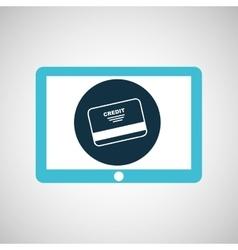 blue tablet cartoon credit card bank design vector image