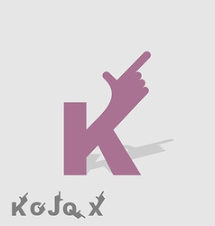 Letter K Logo letters with a hand Finger pointing vector image vector image