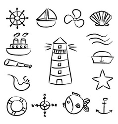 nautical sketch doodle icons set eps10 vector image