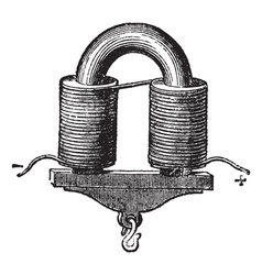 U-shaped Electromagnet vintage engraved vector image vector image