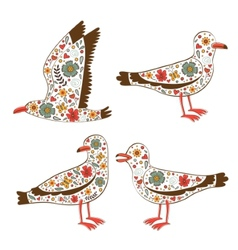 Beautiful collection of floral seagulls vector image vector image