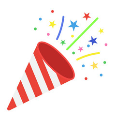 confetti popper flat icon new year and christmas vector image vector image