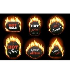 fire labels set vector image vector image