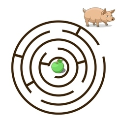 Game labyrinth find a way pig vector image