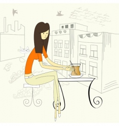 girl with cup of tea vector image
