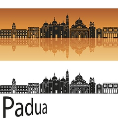 Padua skyline in orange background vector image
