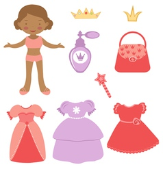 Princess paper doll vector image
