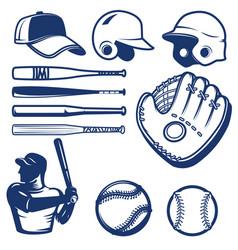 set of baseball design elements baseball beats vector image