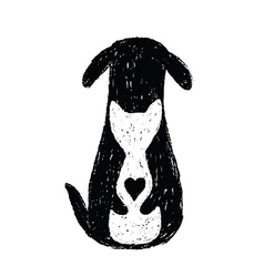 Silhouette icon of cat and dog friendship vector image
