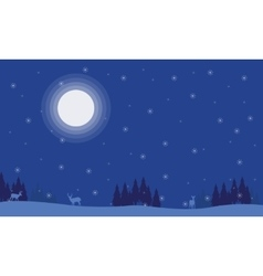 Silhouette of deer spruce with moon scenery vector image vector image