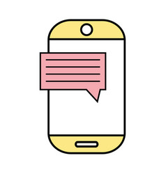 smartphone technology with chat bubble text vector image