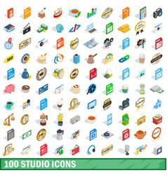 100 studio icons set isometric 3d style vector