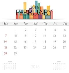 2016 calendar with Creative building design vector