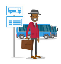 A man waiting on a bus stop with timetable vector