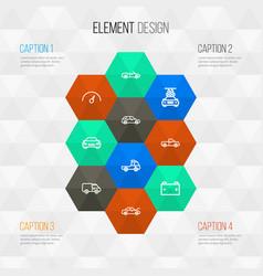 Automobile outline icons set collection bonnet vector