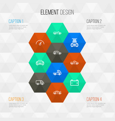 Automobile outline icons set collection of bonnet vector