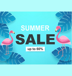 banner with tropical leaves and flamingos in blue vector image