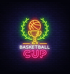 basketball tourament night neon logo vector image