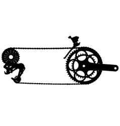 Bicycle drive chain silhouette vector