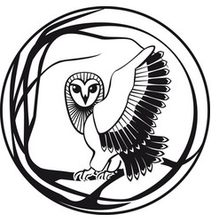 black and white owl sitting on a branch tree vector image