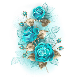Bouquet turquoise roses vector