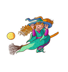 Bright happy girl witch on broom with cat vector