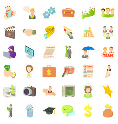 business career icons set cartoon style vector image