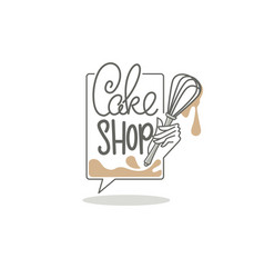 cake shop logo with lettering composition vector image