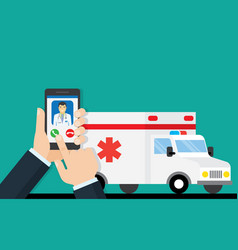 call ambulance car via mobile phone vector image
