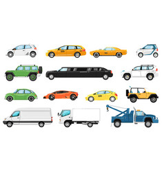 car models set different automobiles types vector image