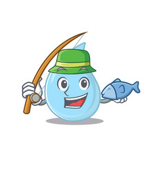 Cartoon design concept raindrop while fishing vector